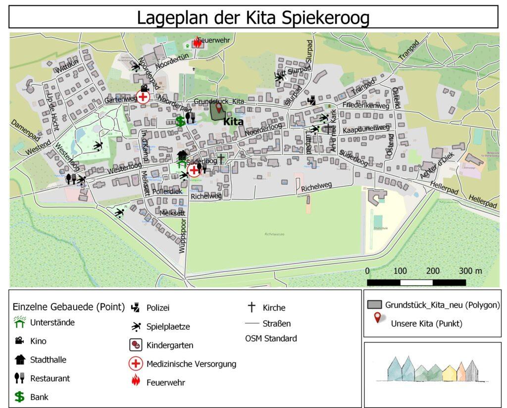 Lageplan auf Spiekeroog, Orientierungshilfe auf Spiekeroog