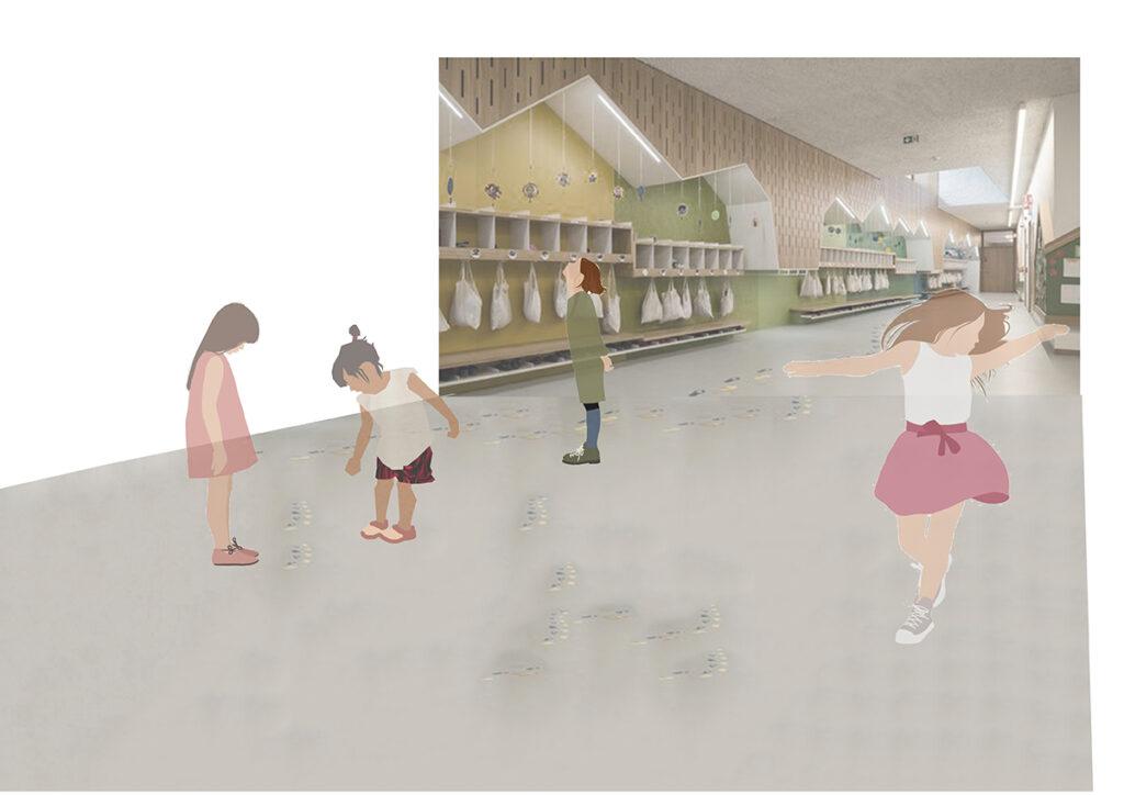 Zeichnung von Kindern im Kita- Flur, spielende und glückliche Kinder